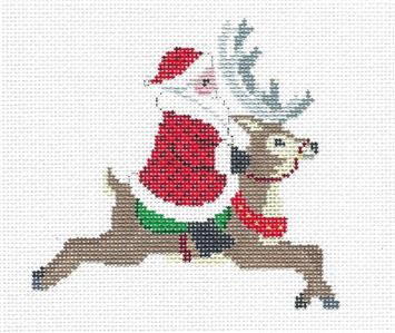 Christmas~Santa Riding a Reindeer handpainted 18 mesh Needlepoint Canvas by Susan Roberts