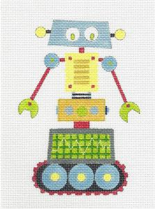 Canvas~ ROBOT in Yellow & Blue handpainted Needlepoint Canvas by Nicole Tamarin