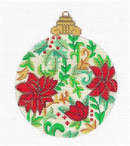 Ornament~Poinsettia Jeweled Ornament handpainted Needlepoint Canvas by Alexa