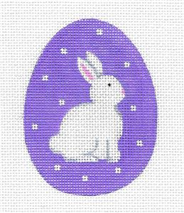 Canvas-White Bunny on Purple Egg handpainted Needlepoint Ornament by Pepperberry