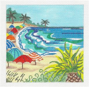 Canvas~ Tropical Beach Umbrellas handpainted Needlepoint Canvas Kamala ~ Juliemar ***SPECIAL ORDER***