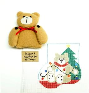 Canvas SET ~ TEDDY BEAR SET handpainted Needlepoint Ornament & Teddy Bear by Kathy Schenkel
