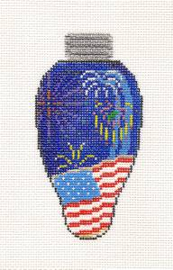 Canvas~Patriotic Fireworks Light Bulb handpainted Needlepoint Canvas by Painted Pony