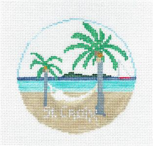 Travel Round~ST. CROIX, U.S. VIRGIN ISLANDS handpainted Needlepoint Canvas~by Kathy Schenkel**MAY NEED TO BE SPECIAL ORDERED**