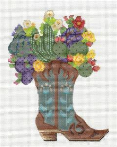 Kelly Clark Canvas –Desert Blooms Boot handpainted Needlepoint Canvas Ornament