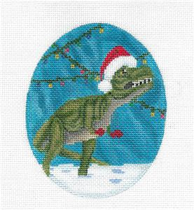 T-REX Dinosaur with Santa Hat & Lights handpainted Oval Needlepoint Canvas by Scott Church