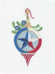Clark Canvas –TEXAS Victorian Round LONESTAR Ornament handpainted Needlepoint Ornament Canvas Kelly Clark