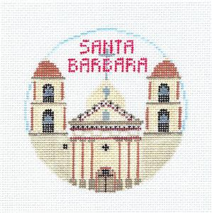 Travel Round~SANTA BARBARA, CALIF. Needlepoint Canvas~by Kathy Schenkel**MAY NEED TO BE SPECIAL ORDERED**