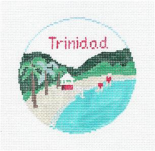 Travel Round~The Caribbean TRINIDAD Beach Needlepoint Ornament Canvas by Kathy Schenkel RD.**MAY NEED TO BE SPECIAL ORDERED**