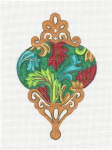 Ornament~Jewels & Leaves Ornament handpainted Needlepoint Canvas by Alexa Design