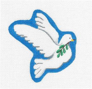 Canvas-White Dove of Peace handpainted Needlepoint Canvas by Pepperberry Designs