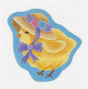 Canvas~ Easter Chick in Flower Bonnet handpainted Needlepoint Canvas by Pepperberry