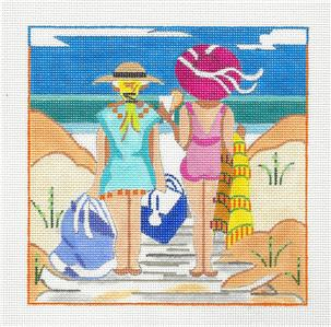 Canvas~Friends At the Beach handpainted Needlepoint Canvas by Kamala ~ Juliemar
