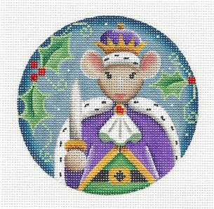 Round ~ Nutcracker THE MOUSE KING Regal handpainted Needlepoint Canvas by Rebecca Wood~MAY NEED TO BE SPECIAL ORDERED