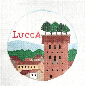 Travel Round~The LUCCA, ITALY TUSCANY Tower handpainted Needlepoint Canvas Kathy Schenkel RD**MAY NEED TO BE SPECIAL ORDERED**