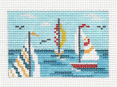 "Canvas~ SAILBOATS to fit Planet Earth ID TAG 2"" by 3"" handpainted Needlepoint Canvas N.Crossings"