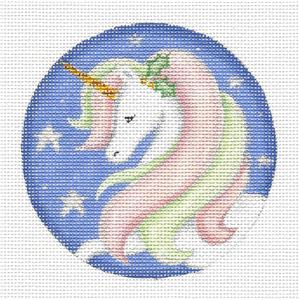 "Round ~ ""She"" UNICORN Ornament handpainted Needlepoint Canvas by Rebecca Wood"