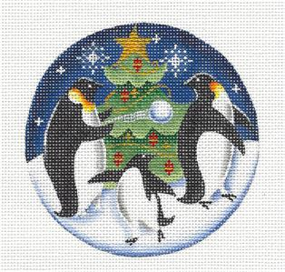 Round ~ Christmas Penguins Ornament handpainted Needlepoint Canvas Rebecca Wood