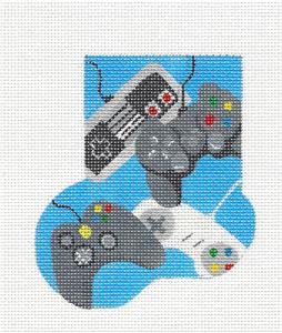 Gaming Computers Mini Stocking handpainted Needlepoint Canvas by A.Bradley