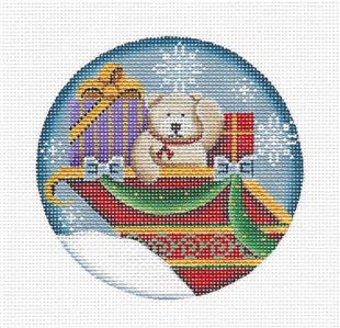 Christmas Round ~ Adorable Teddy Bear in Sleigh handpainted Needlepoint Canvas by Rebecca Wood