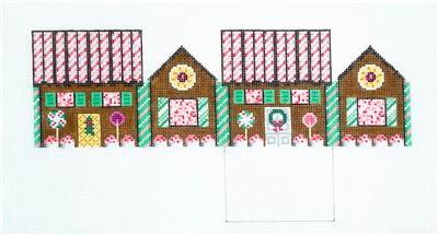 3D PEPPERMINT & DK. CHOC. Gingerbread House 3-D Needlepoint Ornament Susan Roberts **MAY NEED TO BE SPECIAL ORDERED**