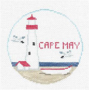 Travel Round~CAPE MAY, NEW JERSEY handpainted Needlepoint Canvas~by Kathy Schenkel**MAY NEED TO BE SPECIAL ORDERED**