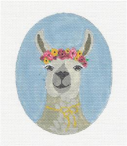 Canvas-LLAMA with Flowers handpainted Needlepoint Ornament Canvas by JM ~ Danji