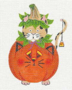 Halloween Cat in a Pumpkin handpainted Needlepoint Ornament Canvas Danji