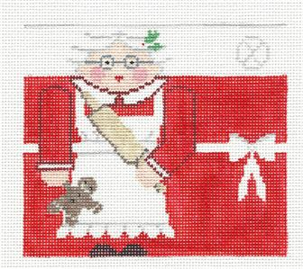 Canvas~Mrs. Claus Roll Up Ornament handpainted Needlepoint Canvas by Kathy Schenkel