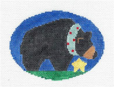 Oval~Black Bear with Star Oval handpainted Needlepoint Canvas by Kathy Schenkel