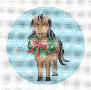 Round~Christmas Horse with Wreath handpainted Needlepoint Ornament by Pepperberry