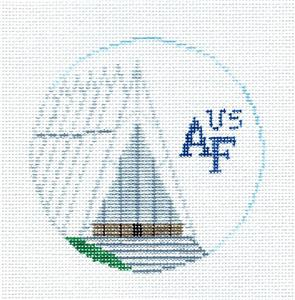 Travel Round~US AIR FORCE ACADEMY COLORADO Needlepoint Canvas~by Kathy Schenkel**MAY NEED TO BE SPECIAL ORDERED**