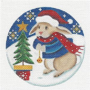 Round ~Adorable Bunny with Bell handpainted Needlepoint Canvas by Rebecca Wood *** MAY NEED TO BE SPECIAL ORDERED***
