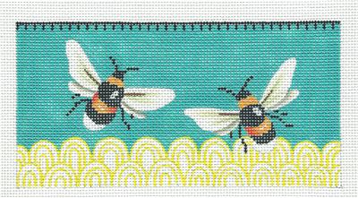 Two Bumble Bees on Teal Background handpainted Needlepoint Canvas Ornament