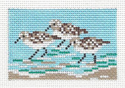 "Canvas~SANDPIPERS to fit Planet Earth ID TAG 2"" by 3"" handpainted Needlepoint Canvas N.Crossings"