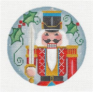 Round ~Nutcracker THE SOLDIER Regal handpainted Needlepoint Canvas by Rebecca Wood~MAY NEED TO BE SPECIAL ORDERED