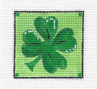 Canvas-  IRISH 4 LEAF CLOVER handpainted Needlepoint Ornament Canvas by ZIA ~ Danji