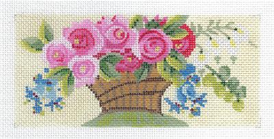 Kelly Clark Canvas –Victorian Rose Basket Insert handpainted Needlepoint Canvas by Kelly Clark