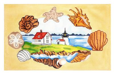 Canvas~Island Lighthouse Scene handpainted Needlepoint Canvas by Starke Art CBK
