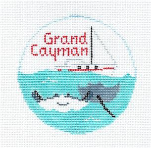 "Travel Round~ Caribbean GRAND CAYMAN ISLAND 4"" Needlepoint Ornament Canvas by Kathy Schenkel RD."