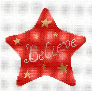 Christmas~BELIEVE RED STAR Ornament handpainted Needlepoint Canvas by Susan Roberts