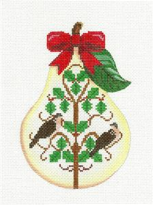 Pear~12 Days of Christmas PEAR ~ 2 Turtle Doves ~ HP Needlepoint Canvas Painted Pony
