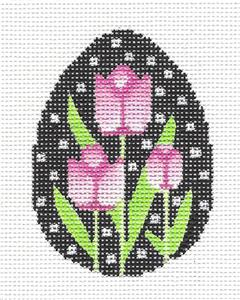 Egg~Pink Tulips Egg handpainted Needlepoint Ornament Canvas ~ Amanda Lawford