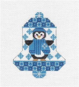 Bell-Penguin in Blue Bell handpainted Needlepoint Ornament by CH Design ~ Danji