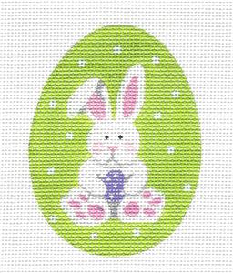Egg~Easter Bunny Egg handpainted Needlepoint Ornament by Pepperberry Designs
