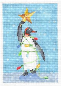 Canvas-Penguin with a Star Handpainted Needlepoint canvas by Scott Church