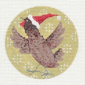 Kirk & Hamilton Chicken Hen & Christmas Hat handpainted HP Needlepoint Canvas