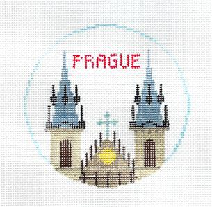 Travel Round ~ PRAGUE, CZECH REPUBLIC handpainted Needlepoint Canvas by Kathy Schenkel**MAY NEED TO BE SPECIAL ORDERED**