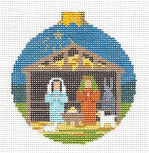 "Christmas~Holy Family in Stable 3.5""Ornament handpainted Needlepoint Canvas Susan Roberts"