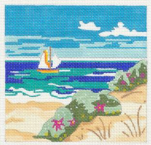Canvas~ Beach Scapes HP Needlepoint Canvas by Juliemar & STITCH GUIDE & Photo*** SPECIAL ORDER***